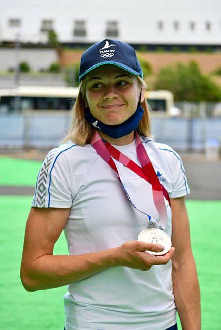 Сегодня сборная Беларуси чествовала серебряную медалистку Ирину Курочкину