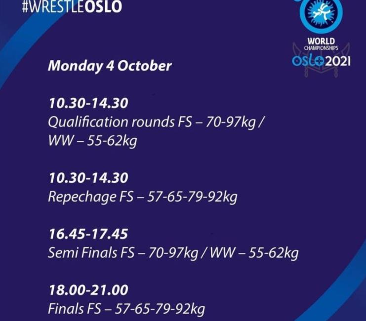 Программа чемпионата мира по борьбе вольной (г. Осло, Норвегия) на 4 октября